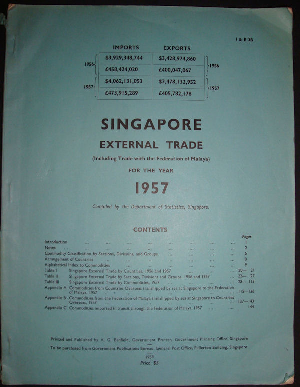 Singapore External Trade (Excluding Trade with the Federation of Malaya) for the Year 1957. SINGAPORE - TRADE.