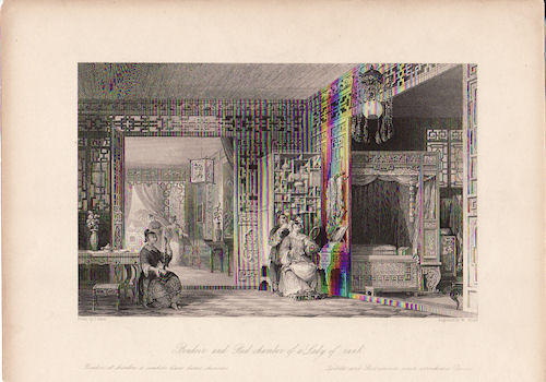Boudoir and Bed-chamber of a Lady of Rank. [China Antique Print]. THOMAS ALLOM.