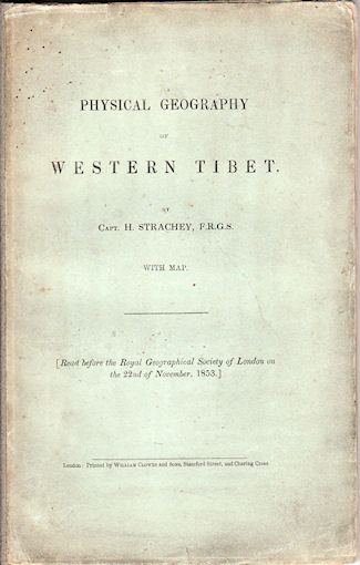 Physical Geography of Western Tibet. STRACHEY H.