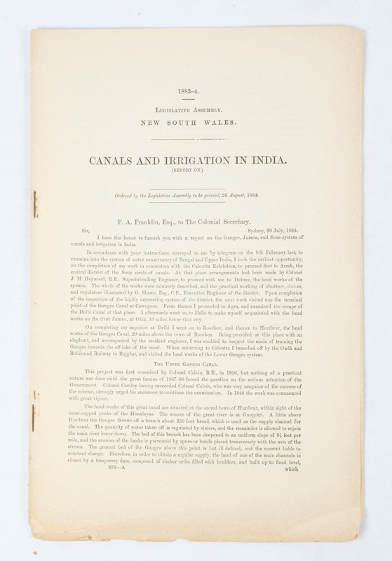 Canals and Irrigation in India. (Report on). F. A. FRANKLIN.