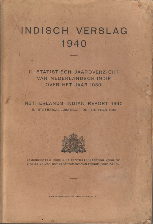 Indisch Verslag 1940. II. Statistisch Jaaroverzicht van Nederlandsch-Indie over Het Jaar 1939. Netherlands Indian Report 1940. II. Statistical Abstract for the Year 1939.