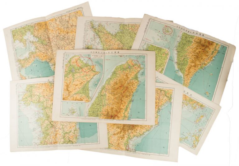 Collection of 7 Japanese Colonial Maps. KOREA AND MANCHURIA MAPS OF TAIWAN.