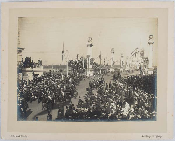 Original photograph: The entry procession into Melbourne of the Duke and Duchess of Cornwall and York to celebrate Federation.