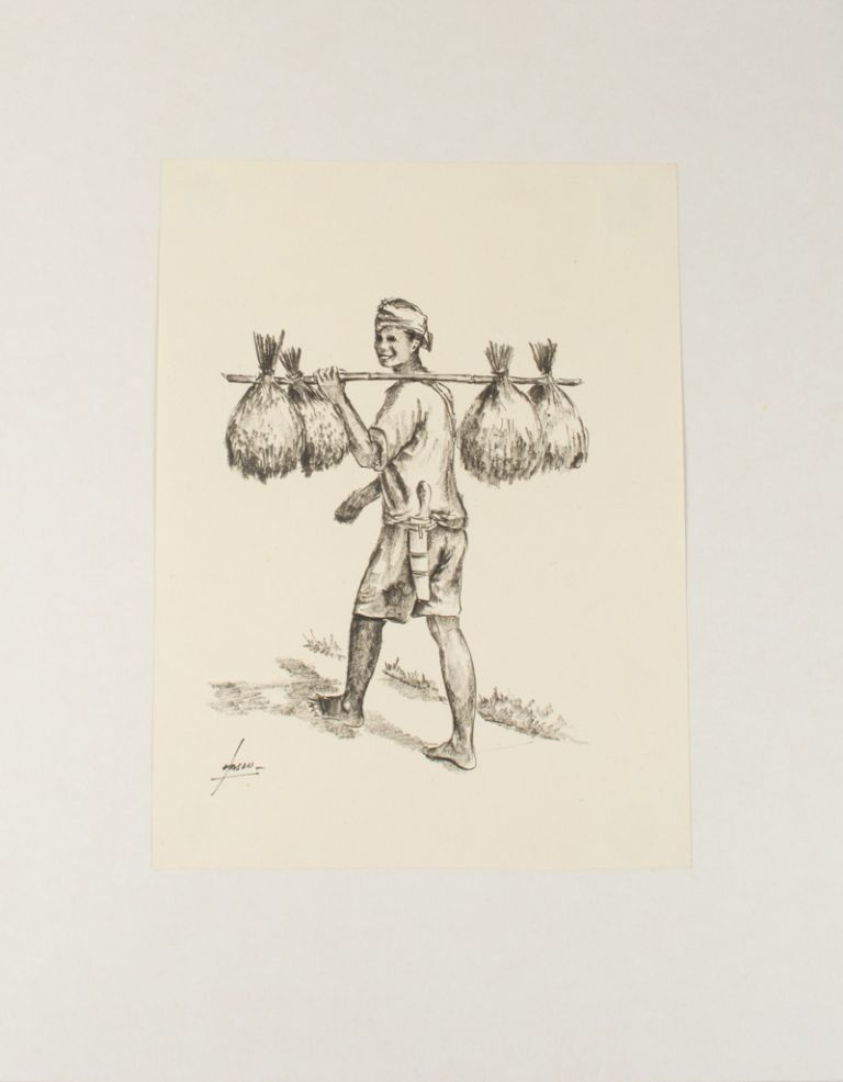 Print of an Indonesian man with shoulder pole carrying rice sheaves. HASAN.