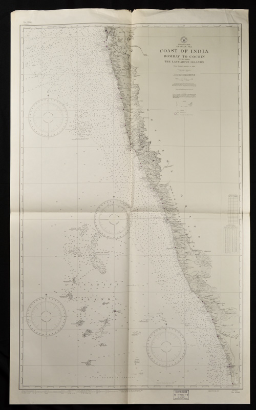 Coast of British India. #1589: Karachi to Bombay including the Gulfs of Cutch and Cambay. (7th. Edition, 1922) # 1590: Bombay to Cochin including The Laccadive Islands. TWO INDIAN COASTAL CHARTS.