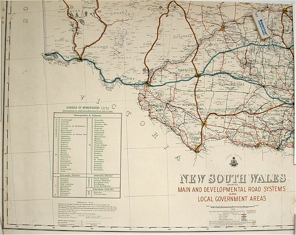 New South Wales Showing Main and Developmental Road Systems and Local Government Areas. 1930S MAP OF NSW.