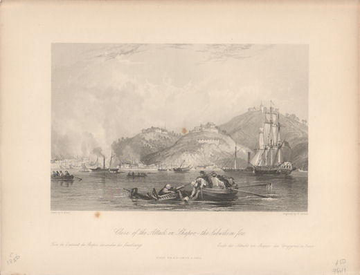 Close of the Attack on Shapoo,- the Suburbs on fire. [China Antique Print]. THOMAS ALLOM.