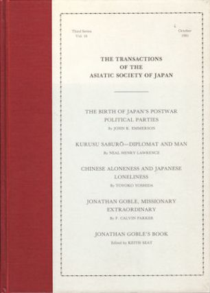 The Transactions of The Asiatic Society of Japan. Third Series, Vol 16. ASIATIC SOCIETY OF JAPAN
