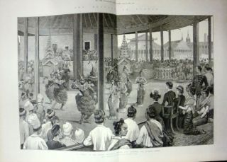The British in Burma. A 'Pooay' at the Palace, Mandalay, Before Lady Dufferin and Burmese Ladies....