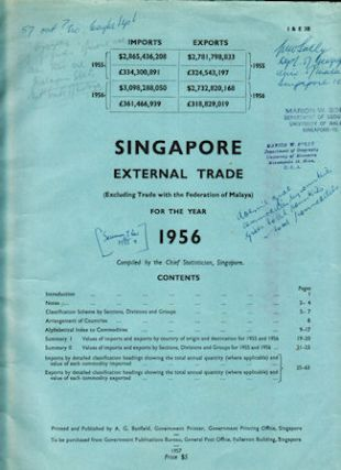 Singapore External Trade (Excluding Trade with the Federation of Malaya) for the Year 1956. SINGAPORE - TRADE.