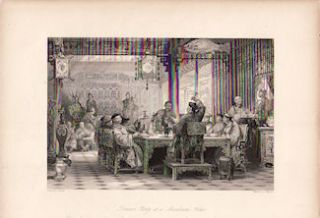 Dinner Party at a Mandarin's House. [China Antique Print]. THOMAS ALLOM