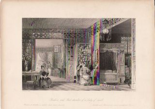 Boudoir and Bed-chamber of a Lady of Rank. [China Antique Print]. THOMAS ALLOM
