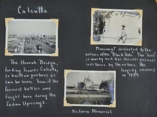 Photograph Album - Port Said, Aden, Karachi, Bombay, Goa, Marmagoa, Colombo, Madras, Rangoon, Calcutta. VICTORIAN CONNECTION - PHOTOGRAPH ALBUM - CRUISE ON THE M. S. CITY OF RAYVILLE FIRST US VESSEL SUNK IN WWII.