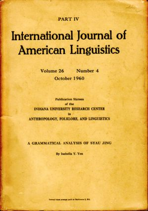 A Grammatical Analysis of Syau Jing. ISABELLA Y. YEN
