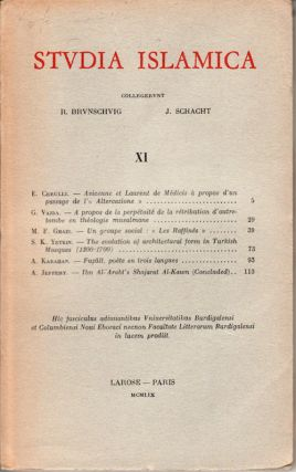 Studia Islamica. Vol XI. G. AND J. SCHACHT BRUNSCHVIG.