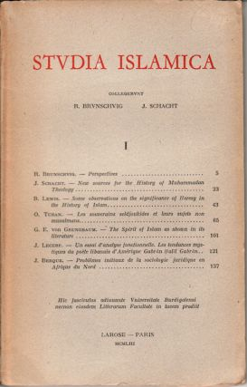 Studia Islamica. Vol I. G. AND J. SCHACHT BRUNSCHVIG