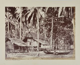 "Photograph titled ""Native Huts in Tangong Cattong"" TOGETHER WITH Original Watercolour ""Under the Equator near Malacca Straits"" SINGAPORE - KATONG - ORIGINAL WATERCOLOUR AND PHOTOGRAPH."