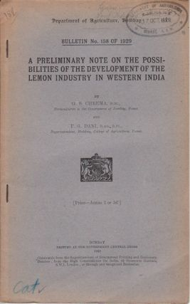 A Preliminary Note on the Possibilities of the Development of the Lemon Industry in Western...