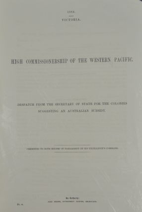 High Commissionership of the Western Pacific. Despatch from the Secretary of State for the...