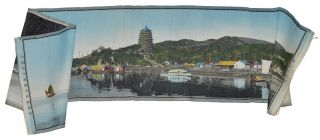 錢江六和塔 [Qianjiang Liuhe ta]. [Liuhe Pagoda on Qianjiang]. CHINESE HANDCOLOURED SILK...