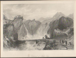 Cataract of Ting-hoo, or the Tripod Lake. [China Antique Print]. THOMAS ALLOM