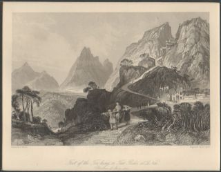 Foot of the Too-hing, or Two Peaks, at Le Nai (Province of Shen-Si). China Antique Print. THOMAS...