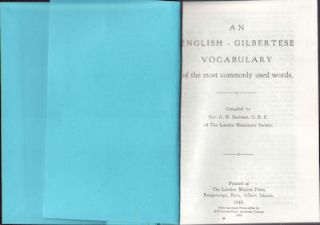 An English - Gilbertese Vocabulary of the most commonly used words. REV. G. H. EASTMAN