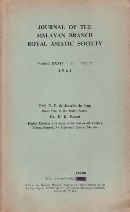 Journal Of The Malayan Branch Of The Royal Asiatic Society. Volume XXXIV: Part 2. 1961