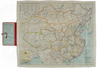 China. Philips' Travelling Maps [Cover Title]. LINEN BACKED MAP OF CHINA