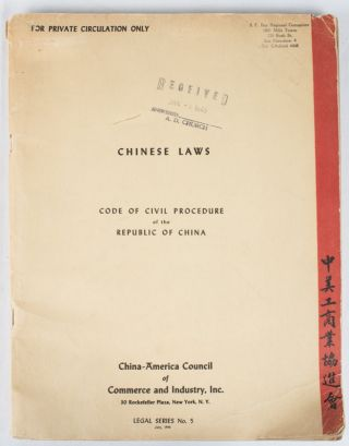 Chinese Laws. Code of Civil Procedure of the Republic of China. Promulgated by the National...