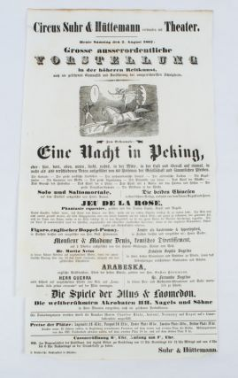A Night in Peking Poster: Circus Suhr & Huttermann present Eine Nacht in Peking. 19TH CENTURY...