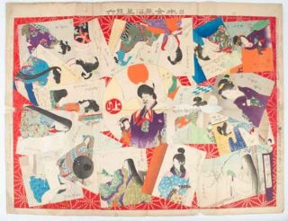 日本女装沿革雙六. [Nihon joso enkaku sugoroku]. [Sugoroku Game of Japanese Women's...