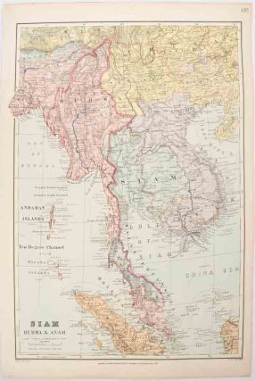 Map of Siam, Burma & Anam. Map of Indo-China and the Malay peninsula. EDWARD STANFORD