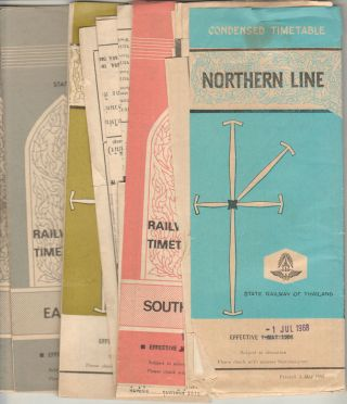 Northern, North-eastern, Eastern & Southern Lines Railway Timetables. COLLECTION OF THAI RAILWAY...