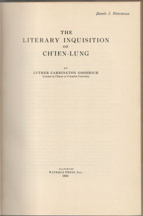 The Literary Inquisition of Ch'ien Lung.
