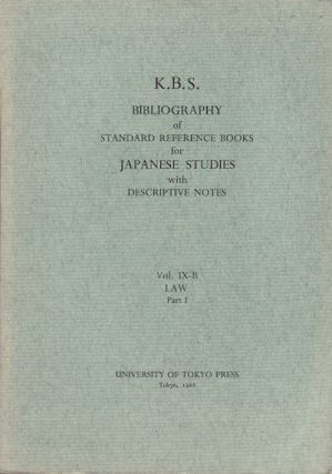 K.B.S. Bibliography of Standard Reference Books for Japanese Studies with Descriptive Notes....