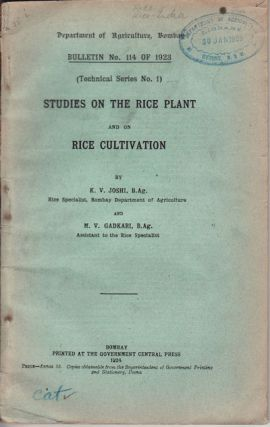 Studies on the Rice Plant and on Rice Cultivation. D. V. AND M. V. GADKARI JOSHI