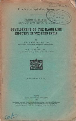 Development of the Kagdi Lime Industry in Western India. DR. G. S. AND DUBHASHI B. S. CHEEMA