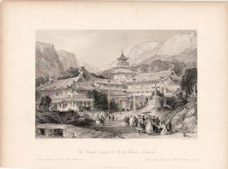 The Grand Temple at Poo-too. Chusan Islands. Putuo, Zhoushan island. [China Antique Print]....