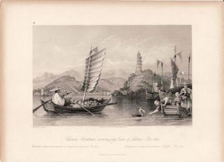 Chinese Boatman economizing Time & Labour,- Poo-kow. [China Antique Print]. THOMAS ALLOM